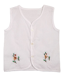 NeedyBee Sleeveless Grandma's Handmade Floral Embroidery Jhabla - White