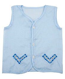 NeedyBee Grandma's Hand Embroidered Sleeveless Front Open Jhabla - Blue