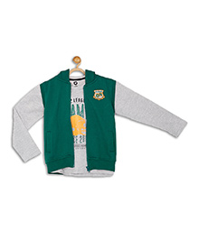 612 League Full Sleeves T-Shirt With Hooded Jacket - Green Grey