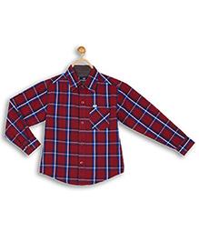 612 League Full Sleeves Check Shirt - Maroon