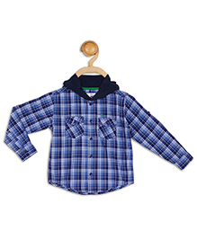 612 League Full Sleeves Hooded Check Shirt - Blue