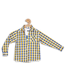 612 League Full Sleeves Check Shirt With T-Shirt - Yellow