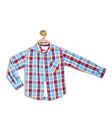 612 League Full Sleeves Check Shirt With T-Shirt - Blue White