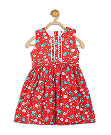 612 League Sleeveless Frock Floral Print - Red