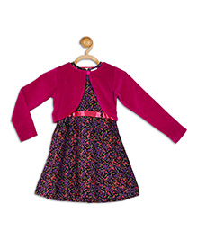 612 League Sleeveless Frock With Shrug Floral Print - Black Dark Pink