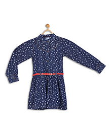 612 League Full Sleeves Frock With Belt Star Print - Blue