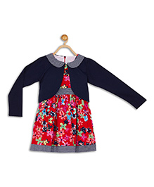 612 League Sleeveless Frock With Shrug Floral Print - Red Navy