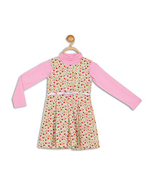 612 League Sleeveless Frock With Shrug And Belt Floral Print - Light Pink