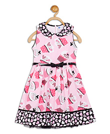 612 League Sleeveless Frock With Belt Cupcake Print - Pink