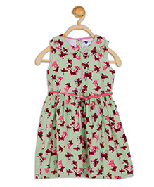 612 League Sleeveless Frock With Belt Butterfly Print - Green