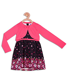 612 League Sleeveless Frock With Shrug Floral Print - Pink Black