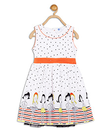 612 League Sleeveless Dotted Frock Doll Print - White