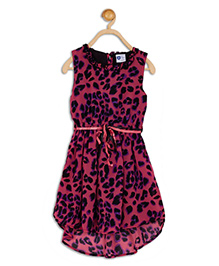 612 League Sleeveless Asymmetrical Frock Animal Print - Pink Black