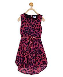 612 League Sleeveless Asymmetrical Frock Animal Print - Pink Black