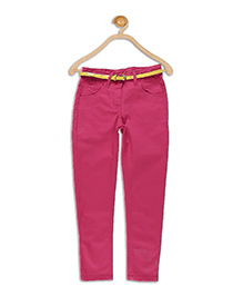 612 League Full Length Twill Pants With Belt - Fuschia