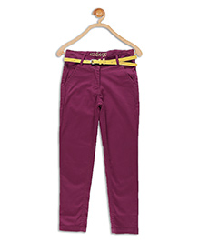 612 League Full Length Satin Pants With Belt - Burgundy