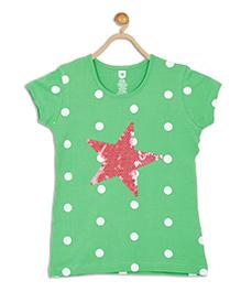 612 League Short Sleeves Top Polka Dot Print - Green