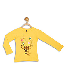 612 League Full Sleeves Top Deer Print - Yellow