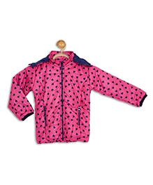 612 League Full Sleeves Hooded Jacket Heart Print - Fuchsia