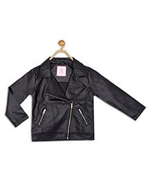 612 League Full Sleeves Leather Jacket - Black
