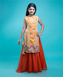 Shilpi Datta Som Lehenga & Long Kurta Set - Light Orange & Dark Orange