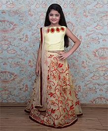 Shilpi Datta Som Embroidered Lehenga With Choli & Dupatta - Beige & Yellow
