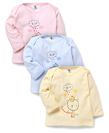 Cucumber Full Sleeves T-Shirts With We Love Rain Print Set Of 3 - Yellow Pink Blue
