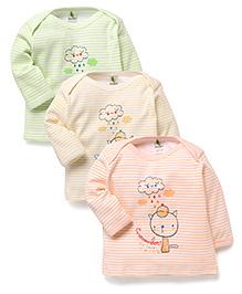 Cucumber Full Sleeves T-Shirts With We Love Rain Print Set Of 3 - Light Yellow Green Light Peach