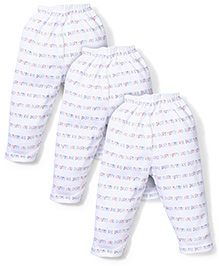 Cucumber Set Of 3 Leggings With Mummy Daddy Print - White