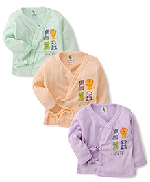Cucumber Full Sleeves Thermal Vest Green Purple And Peach - Set Of 3 (Prints May Vary)