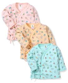 Cucumber Set Of 3 Vests With Elephant Print - Aqua Peach Pink