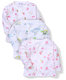 Pink Rabbit Full Sleeves Multi Print Vests White Pink Blue - Set Of  3