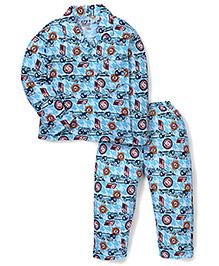 Fido Full Sleeves Night Shirt And Pajama Cars Print - Blue