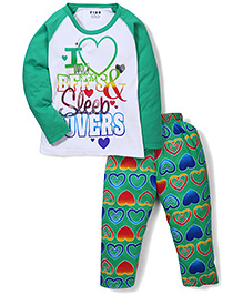 Fido Full Sleeves Heart Print T-Shirt And Pajama Set - Green & White