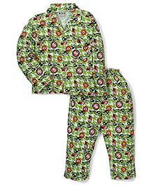 Fido Full Sleeves Night Shirt And Pajama Cars Print - Green