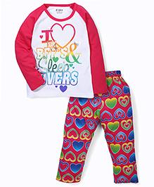 Fido Full Sleeves Heart Print T-Shirt And Pajama Set - Pink & White