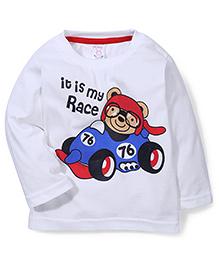 Pink Rabbit Full Sleeves It Is My Race Print  T-Shirt - White