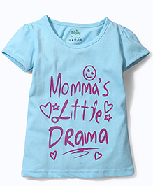 Babyhug Short Sleeves Top Text Print - Sky Blue