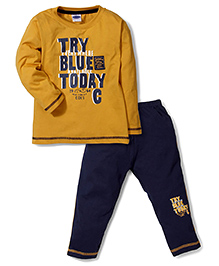 Teddy Sleeves T-Shirt And Pants Today Print - Dark Yellow And Navy