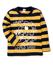 Teddy Full Sleeves Stripes T-Shirt Daddy's Little Lion Print - Yellow & Navy