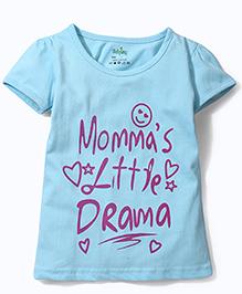 Babyhug Short Sleeves Top Text Print - Sky Blue