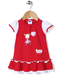 Teddy Short Sleeves Frock Frilled Pattern - Red