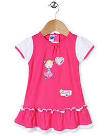 Teddy Short Sleeves Frock Frilled Pattern - Pink