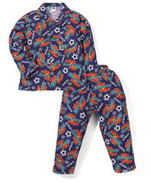 Teddy Full Sleeves Night Suit Sports Print - Navy