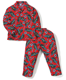 Teddy Full Sleeves Night Suit Sports Print - Red