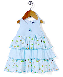 Teddy Sleeveless Layer Printed Frock Bow Applique - Sky Blue