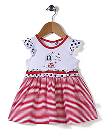 Teddy Flutter Sleeves I Love The Sea Print Frock - White & Red