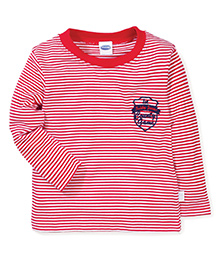 Teddy Full Sleeves Teddy Jeans Print Stripes T-Shirt - Red