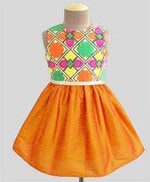 A.T.U.N Mosaic Embroidered Dress - Multicolour & Orange