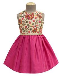 A.T.U.N Paisley Paradise Embroidered Dress - Multicolour & Magenta